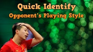 Table tennis Tactics | Quick Identify Opponent Playing Style