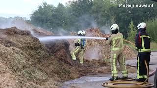 Brand door hooibroei milieustraat Assen