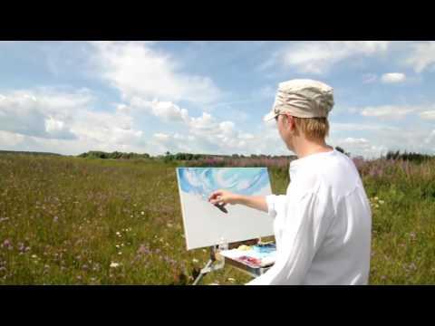 Рисуем маслом на природе.Пленэр. Цветущее поле. Уроки живописи маслом