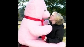 giant teddy bear 6 feet tall pink color giant valentine teddybear or any day gift made in the usa