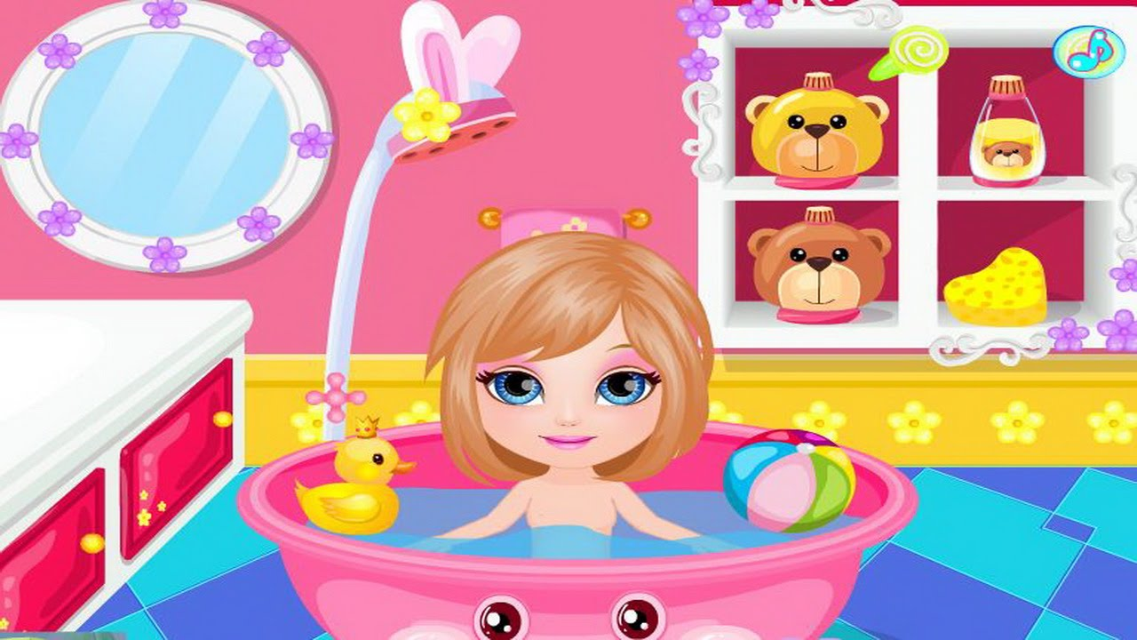 baby barbie games baby barbie shower fun video new baby bathing game youtube. Black Bedroom Furniture Sets. Home Design Ideas