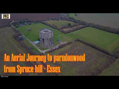Harlow - Spruce hill to parndon wood by air aerial video 4k