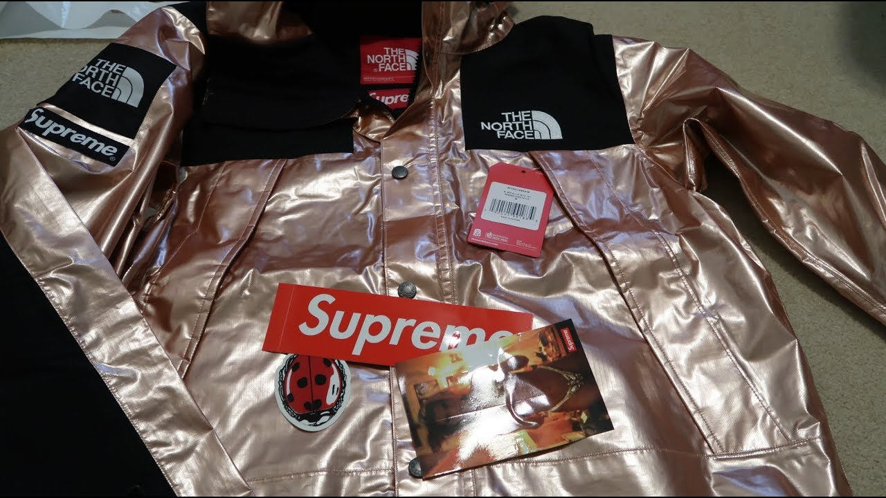 101d7e171100 Supreme SS18 Week 7 Pickup Unboxing The North Face Metallic Mountain Parka Rose  Gold