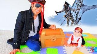 BABY STEVEN PRETEND PLAY with PIRATE SHIP & TREASURE TOYS // PAPA POTAP
