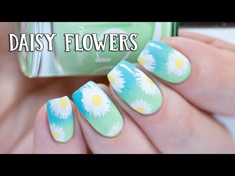 EASY NAILS - Daisy Flowers over Gradient with Indigo Nails