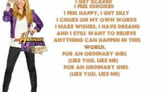 Ordinary Girl - Hannah Montana Forever - Lyrics On Screen (Full)