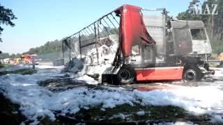 Schwerer LKW-Unfall auf der A2 bei Brandenburg/Havel, zwei Verletzte