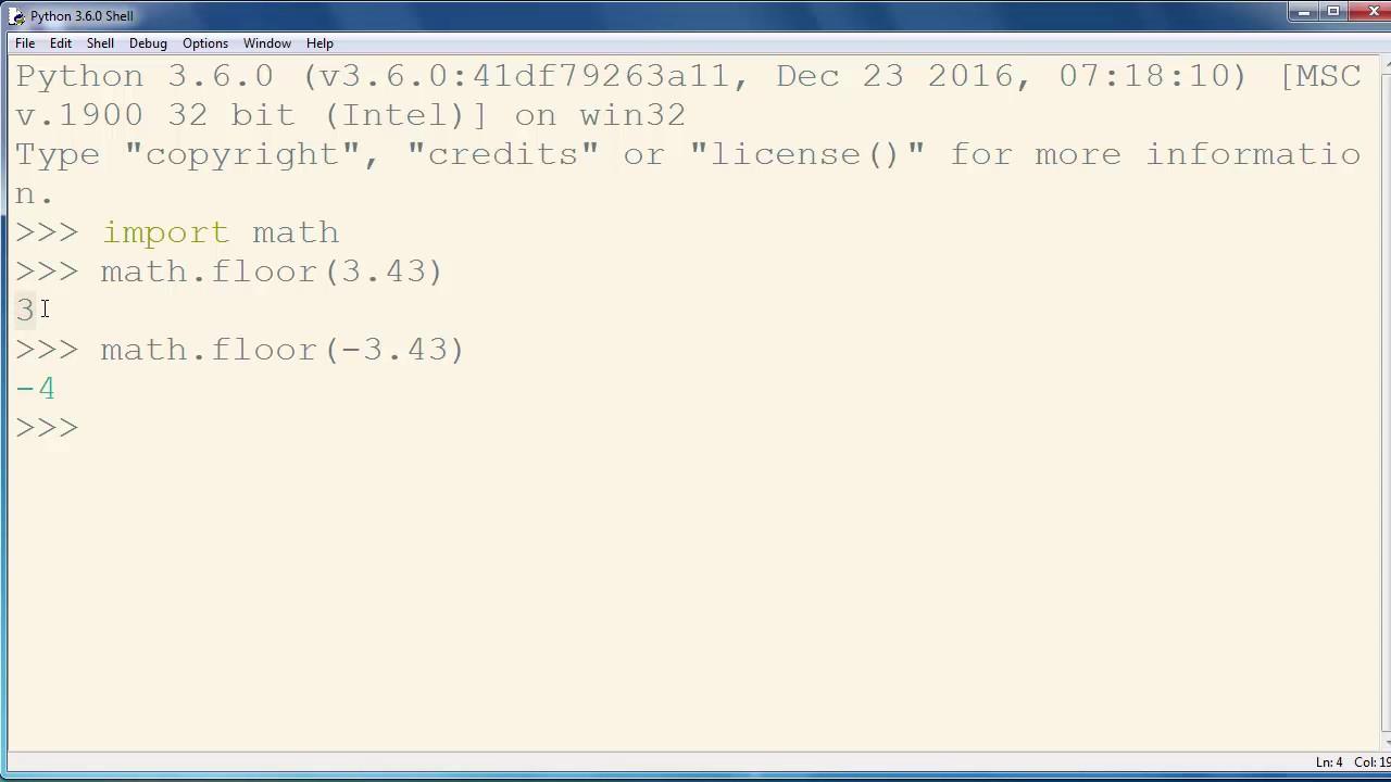 floor() method, math module - Python