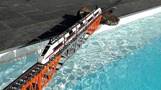 Lego train over swimming pool (drone camera)