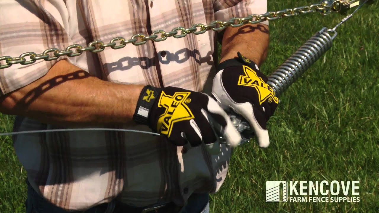 How to Tension Fence Wire With a Wire Tightener and Tension Spring ...