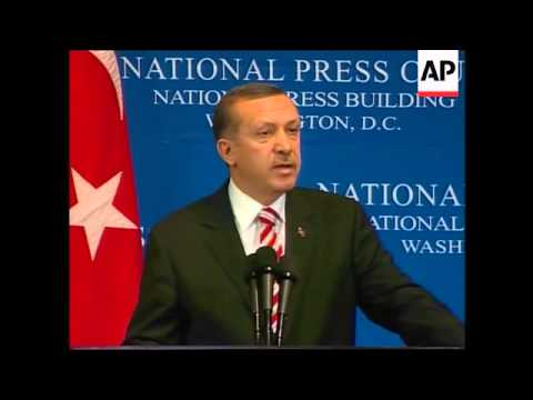 Bush meets Erdogan, ADDS Kurdish protest, Erdogan speech at press club