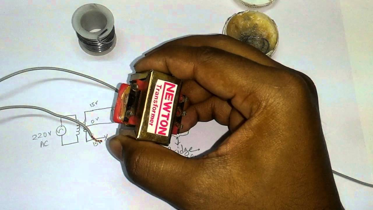 Project 1how To Make A 9vdc Source From 220 V Ac System By Using 120vac 12vdc Power Supply Voltage Regulator Lm7812ct Bridge Rectifier Circuit Youtube