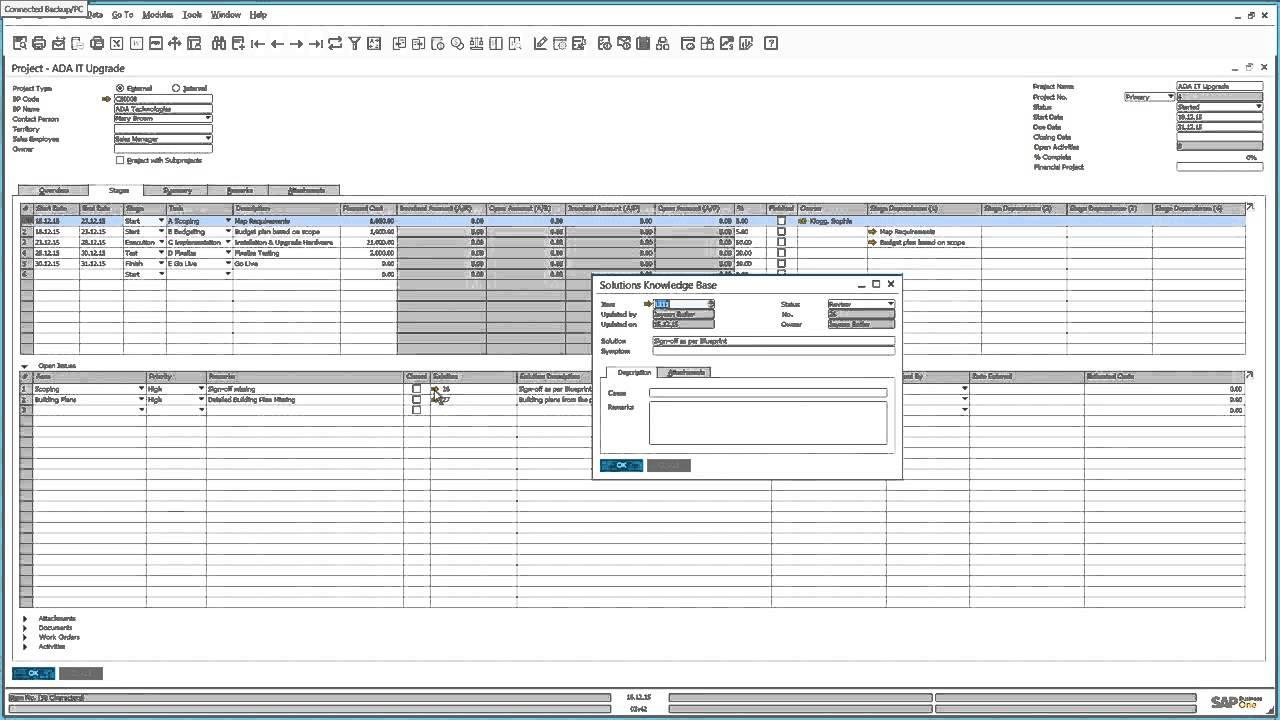 Sap Business One 9 2 Project Management