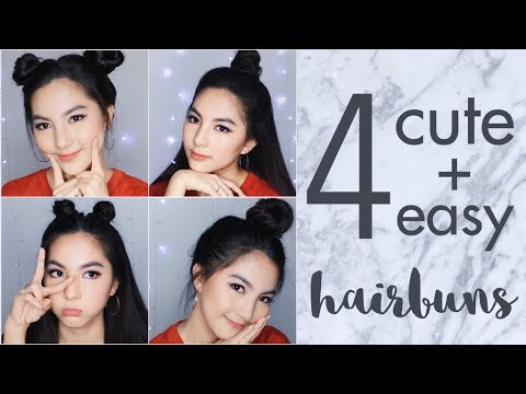 4 Easy and Cute Hair Buns Tutorial for School or Hangout | Tumblr Inspired [ENG Subs]