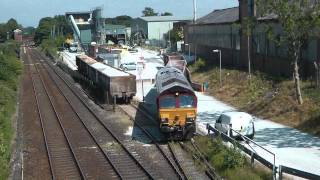 Class 60 60049 and Class 66 66157 on heavy aggregates works Northenden Junction