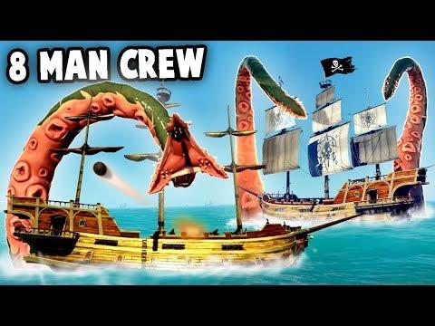 8 MAN CREW vs KRAKEN vs Skeleton Fortress (Sea of Thieves or Sea of FRIENDS?) Best Treasure Loot