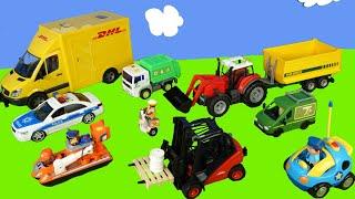 Bagger, Lastwagen, Kran, Betonmischer, Feuerwehrauto & Polizeiauto   Toys for kids