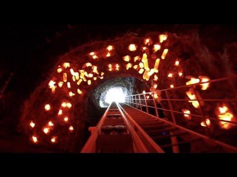 Dark Ride Roller Coaster Lights On POV E-DA Park Taiwan