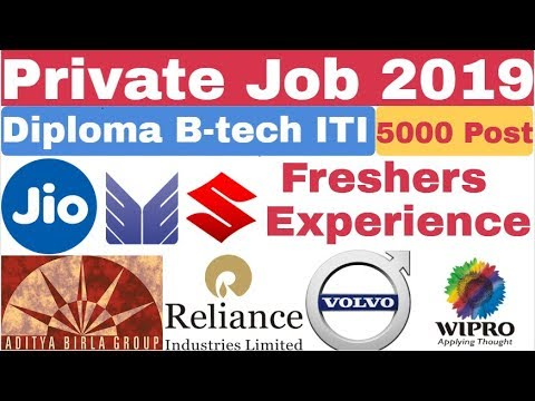 Private Job 2019 For B-tech | Diploma | ITI | Freshers & Experience Apply