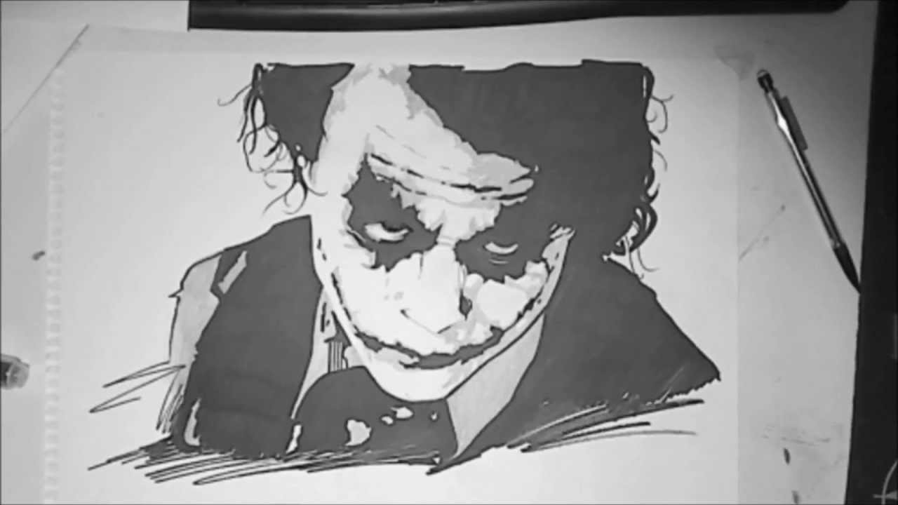 how to draw the joker from the dark knight