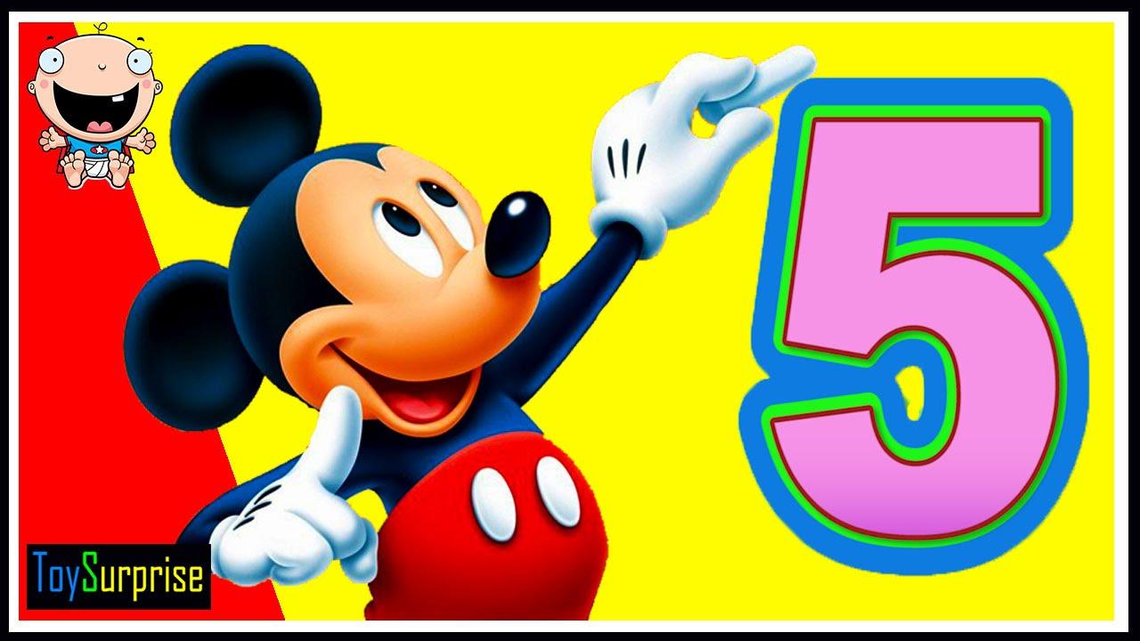 Aprende Los Números Con Mickey Mouse. Números Del 1 Al 5