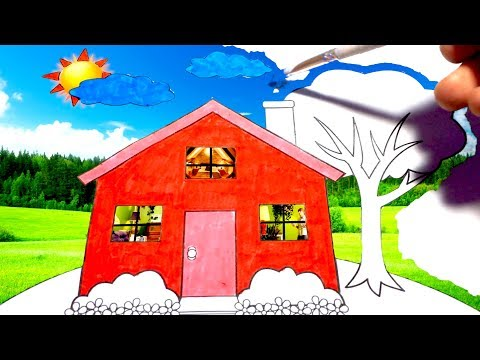 Amazing Magic Coloring Pages | Real Nature and House! How to Draw a House for Kids Magic Drawing