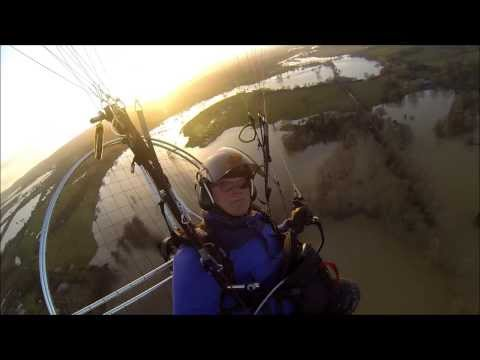 Arun River floods from a kayak on the water and from above in a paramotor