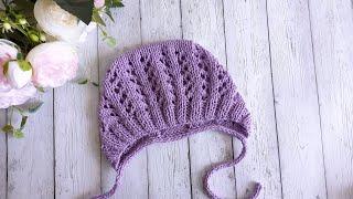 Ажурный чепчик на лето/шапочка для новорожденных спицами