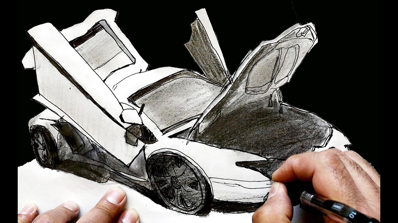 How To Draw A Lamborghini Aventador With Open Doors Youtube