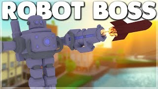 Defeating the ROBOT BOSS to unlock the ROCKET Power Simulator Update (ROBLOX)