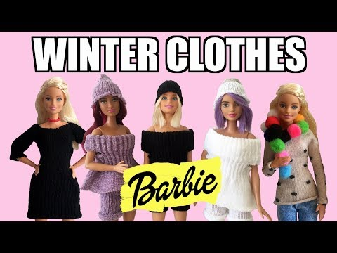 How to make winter clothes for Barbie DRESS, SWEATER, TROUSERS, SHORT, SCARF AND EARMUFFS
