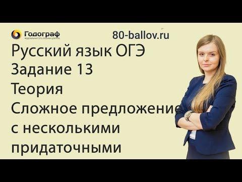 Русский язык ОГЭ 2019. Задание 13. Теория. Сложное предложение с несколькими придаточными