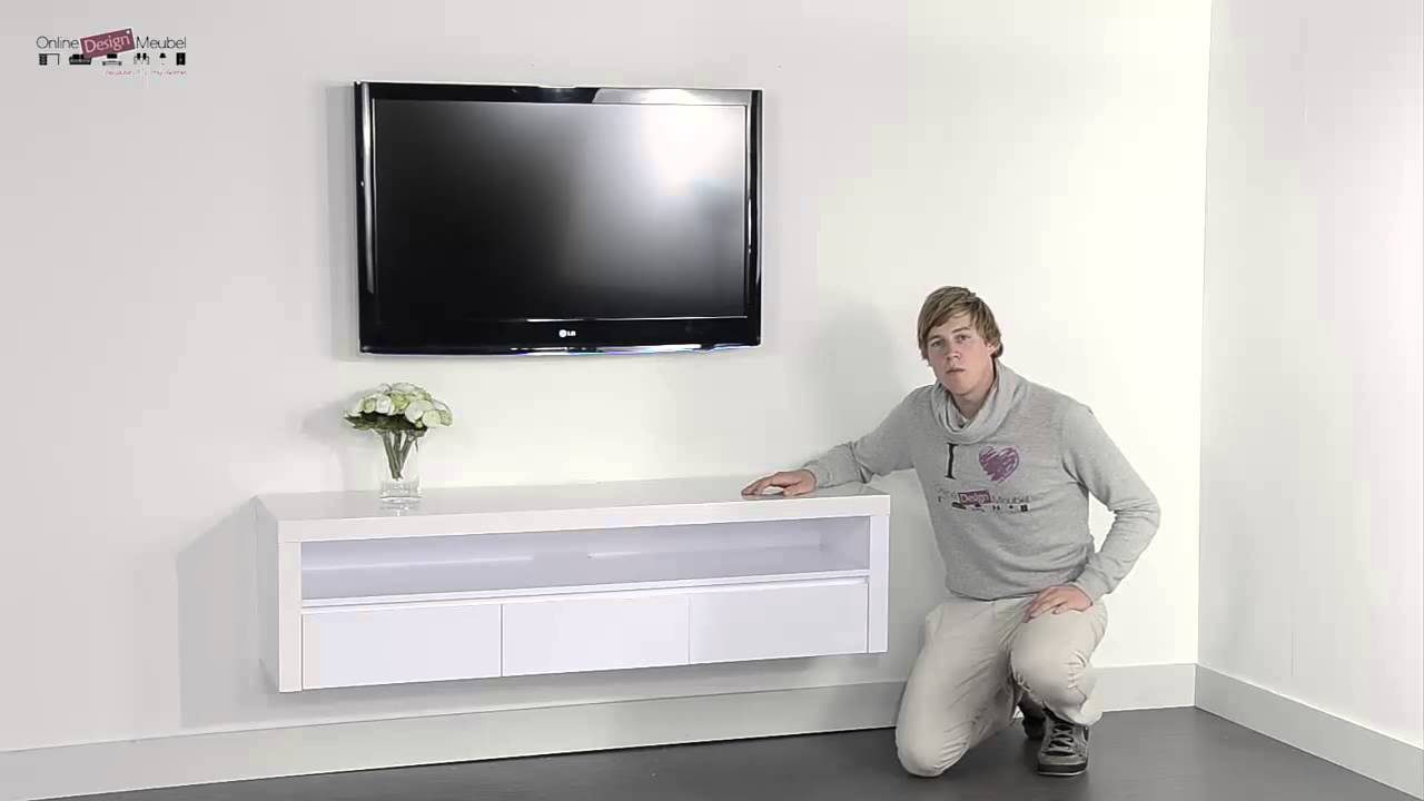Zwevend hoogglans wit tv meubel giani fiore o youtube for Tv paneel wand