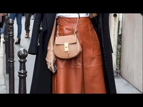 Кожаные юбки трапеции 2020. C чем носить кожаную юбку трапецию. Красивые фото