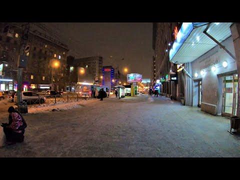 [4K] Novosibirsk - Winter walking Krasny prospekt street - Russia / Новосибирск 4К