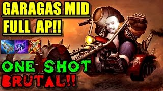 GRAGAS MID FULL AP | EL ONE SHOT MAS BRUTAL!! FULL DELETES GAME!! league of legends | eldelabarrapan