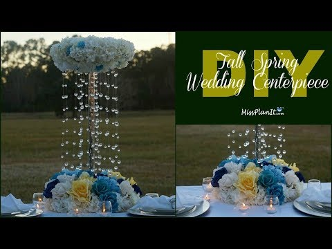DIY Tall Spring Shower Wedding Centerpiece | Tall Glam Centerpiece | DIY Tutorial