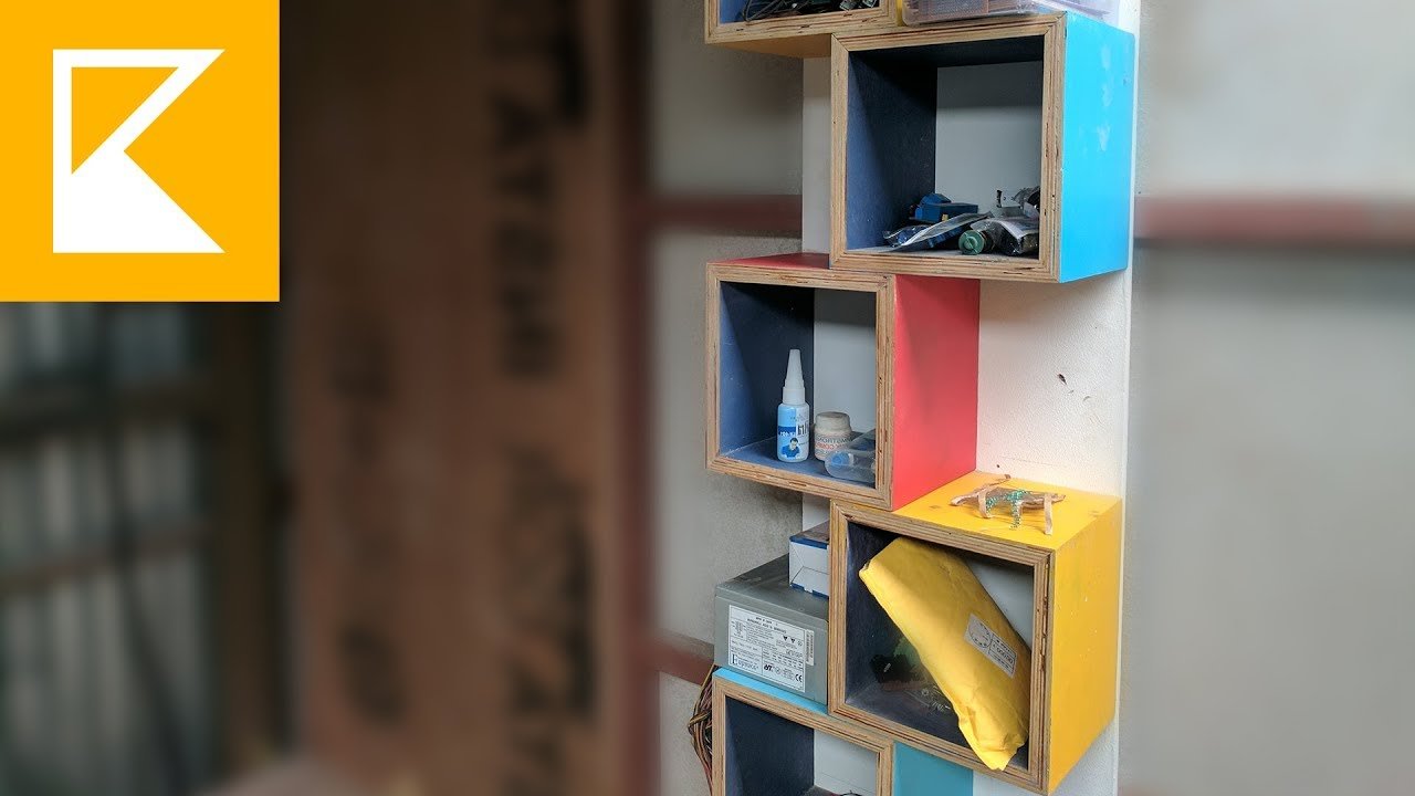 Plywood Cubes Shelves Easy Diy Project