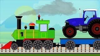Yeşil Tren Traktör Toplamak. Çocuklar için Renkleri öğrenin. Trenler çizgi film