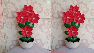 How to make a showpiece at home with plastic spoon. Plastic spoon flower.