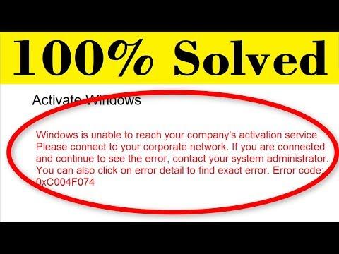 How To Fix Error Code 0xC004F074    Windows 10 Pro Activation Error