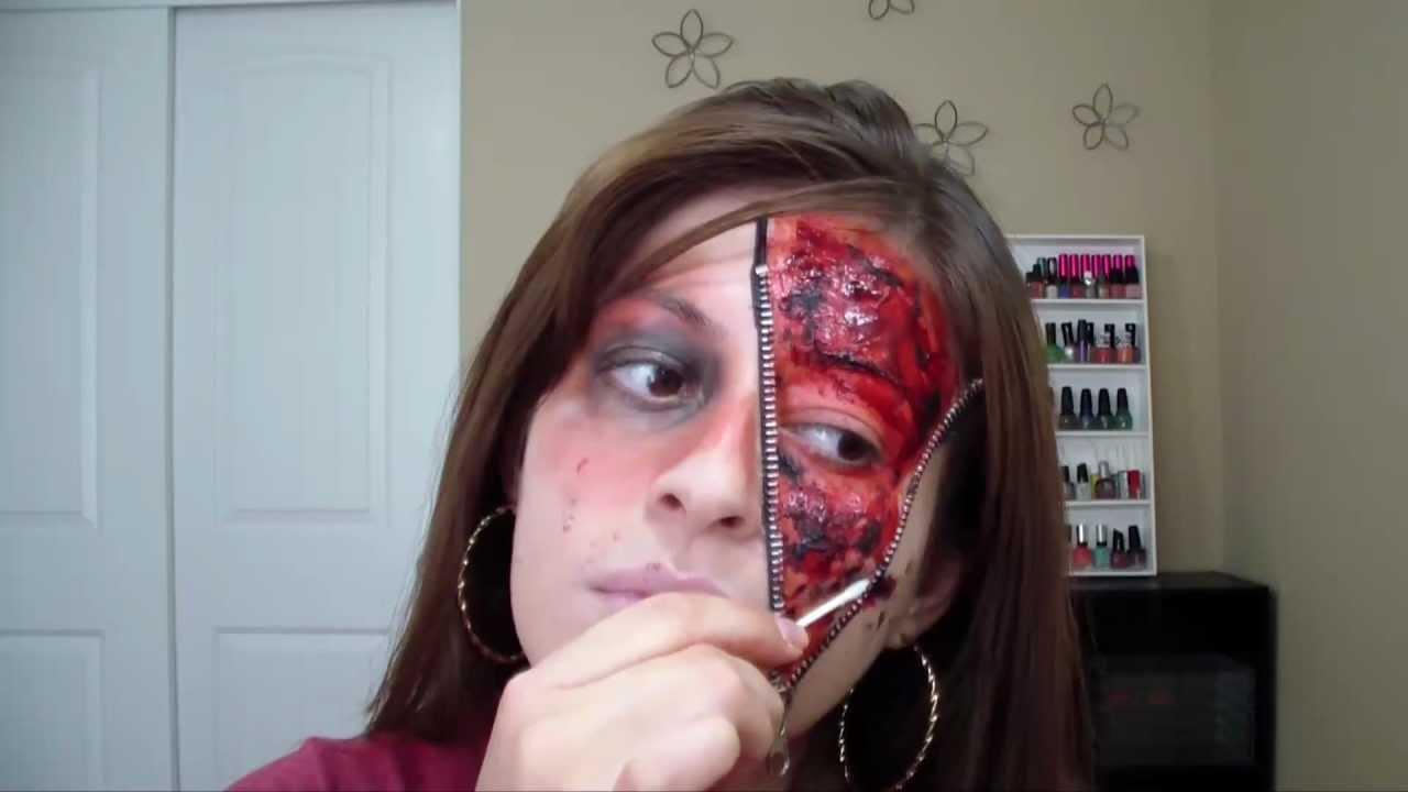Maquillaje con cierre en mitad de cara para halloween - Pintura cara halloween ...