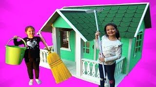 Masal and Öykü Cleaning  the Playhouse - Fun Kids Video