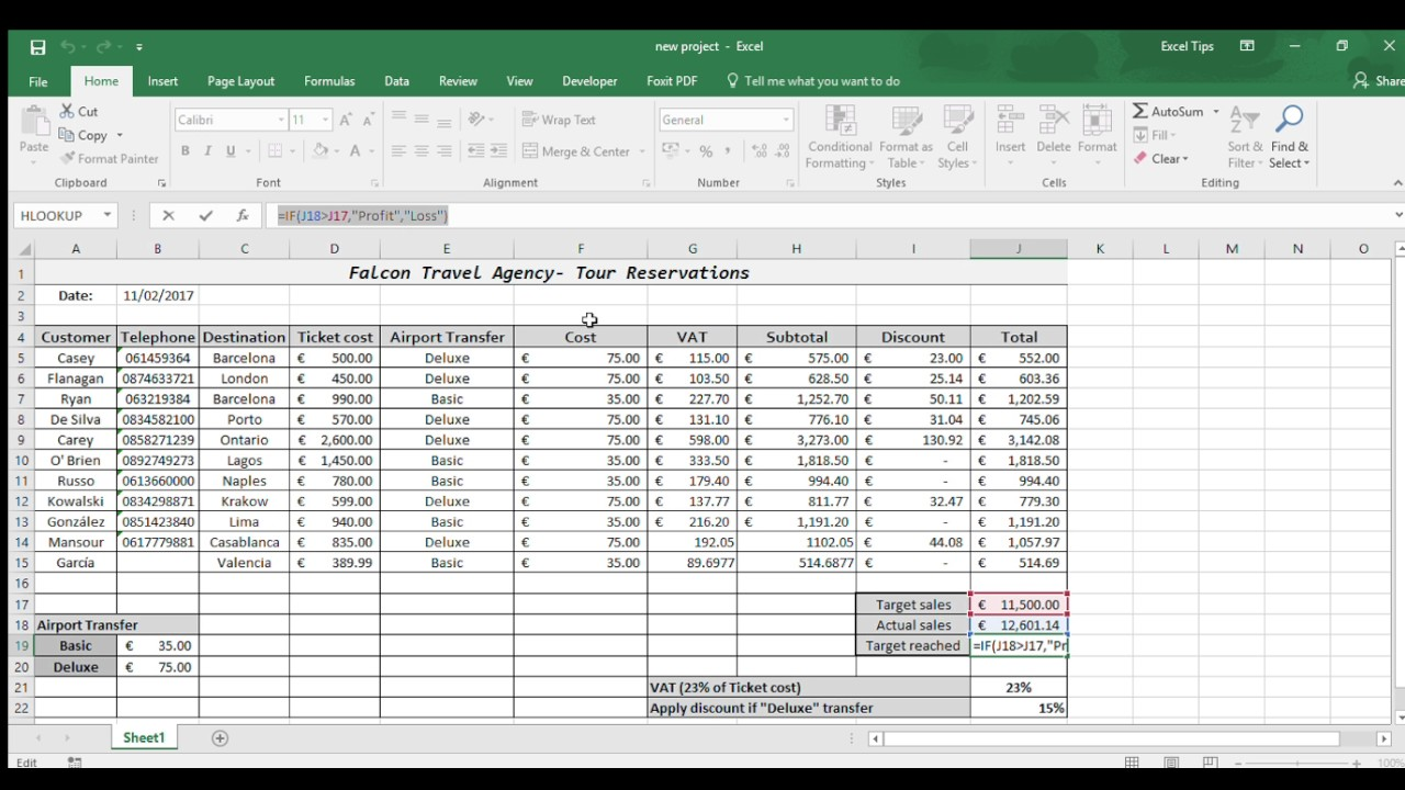 Excel Example Of Travel Agency Spreadsheet