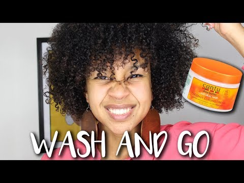 Wash&Go Review and Tutorial: Cantu Coconut Curling Cream