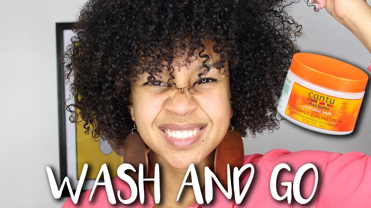 Wash And Go Tutorial: Cantu Coconut Curling Cream Review