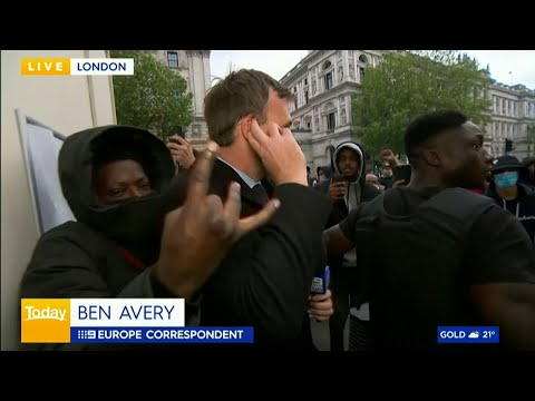 George Floyd London protests: Journalist accosted live on air as scuffles break out