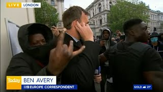 video: Watch: Australian reporters attacked live on air during George Floyd protest in London