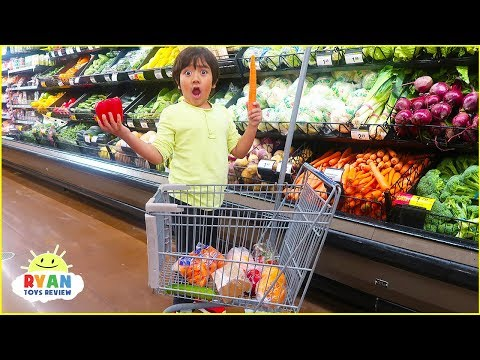 Ryan Pretend Play Kids Size Shopping Cart! Learn Healthy Food Choices! - Видео приколы ржачные до слез
