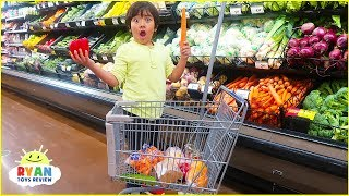Ryan Pretend Play Kids Size Shopping Cart! Learn Healthy Food Choices!